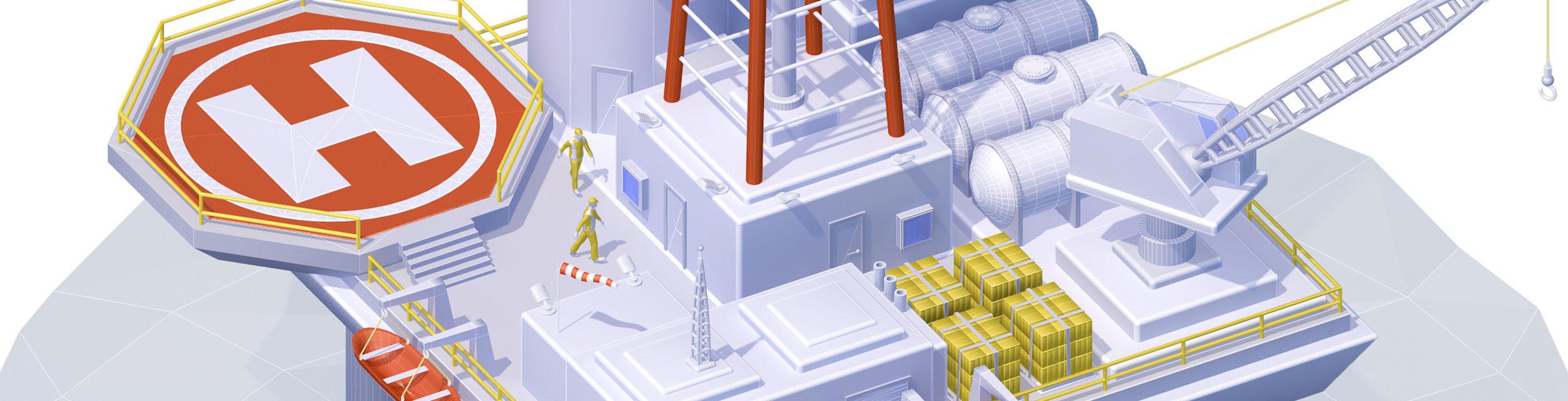 infographie 3D plateforme offshore Unik Studio 3D